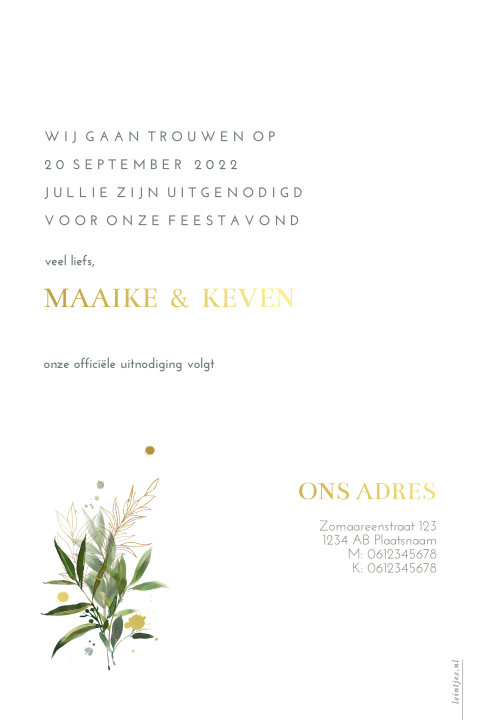 Save the date botanisch goud spetters