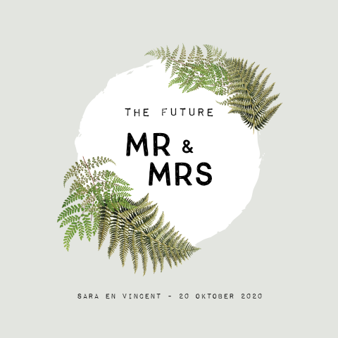 Botanische Save the date met vintage varens