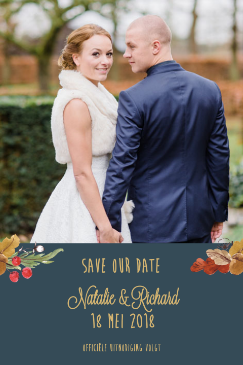 Save the Date met foto in herfstthema