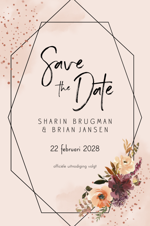 save the date geometrisch bohemian bloemen