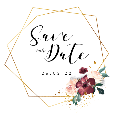 Save the Date Geometrisch Flowers