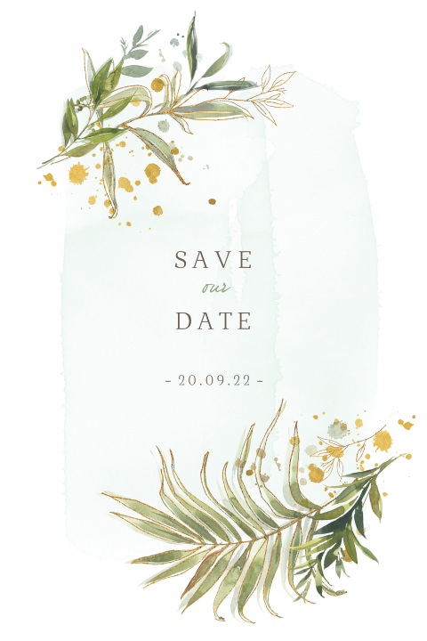 Save the Date groene takjes fine art