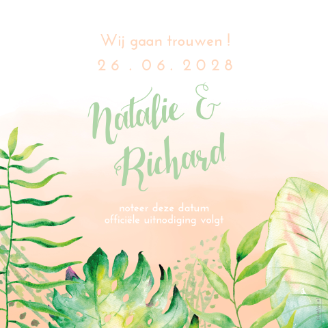 Watercolor jungle Save the date