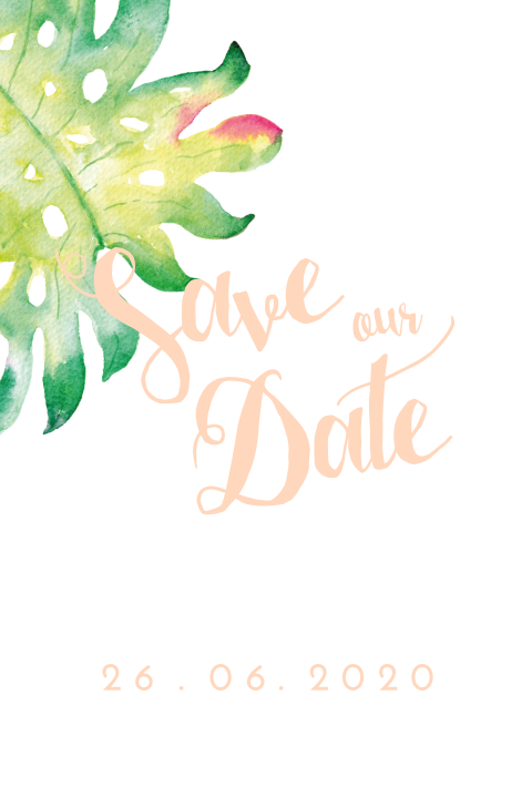 Watercolor perzik tropische save the date