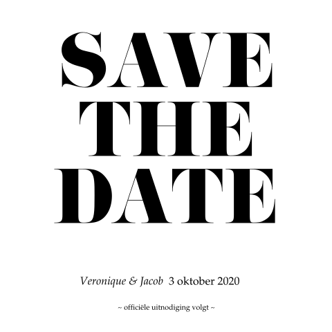 vierkante strakke save the date