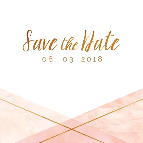 Watercolor en koper save the date kaart