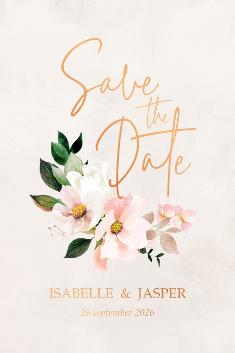 save the date koperfolie bloemen blush morning dew