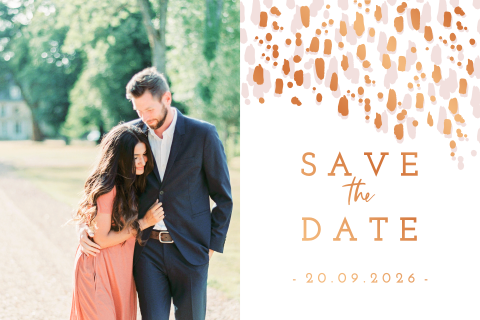 Koperfolie save the date streepjes blush met foto