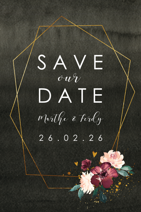 Save the Date Moody Geometrisch Flowers
