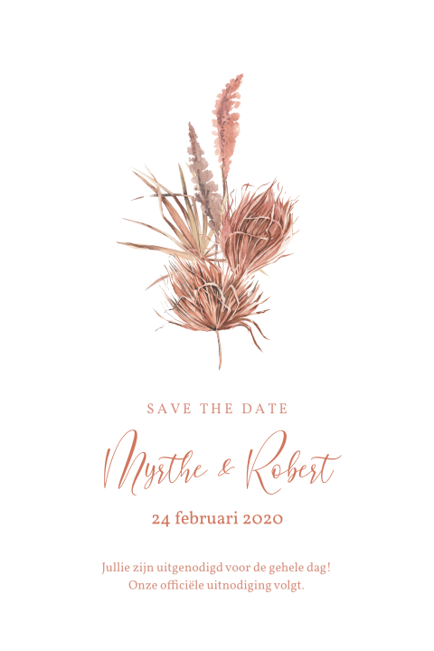 save the date palmgras droogbloemen