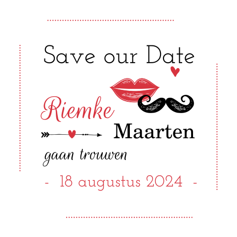 Stijlvolle save the date snor lippen rood
