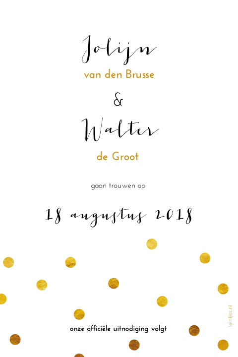 Gouden Confetti Save the date met foto