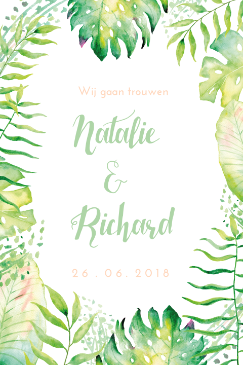 Watercolor Trouwkaart Botanisch