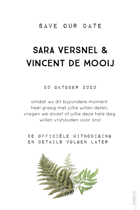Botanische vintage Varens Save the Date