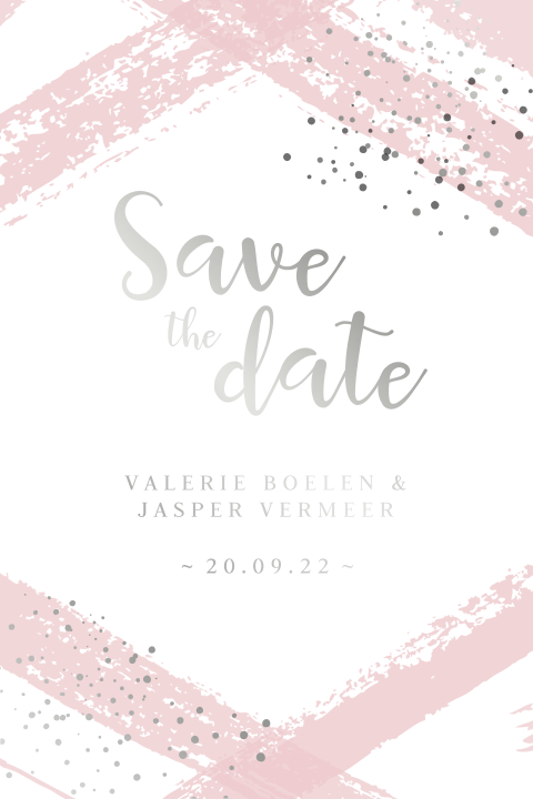 Zilverfolie save the date strepen en stippels