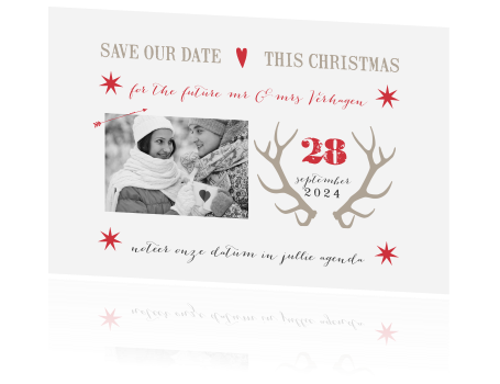 Kerst save the date met stijlvolle lettertypes