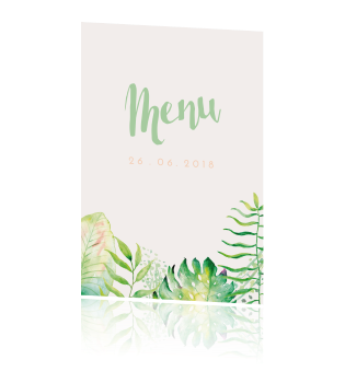Watercolor Tropisch Menu kaart