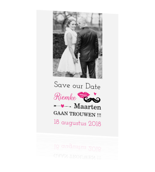 Stijlvolle save the date snor lippen roze