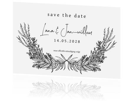 Klassiek save the date met vintage takken en bloemen