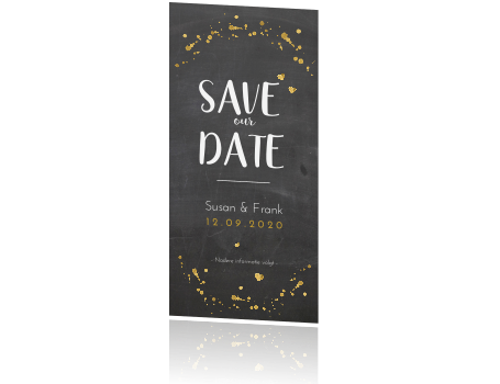 strakke save the date met goudfolie