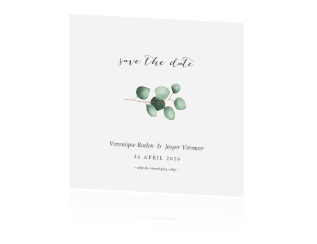 minimalistische save the date met eucalyptus