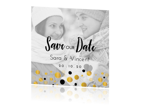 Mooie save the date met confetti