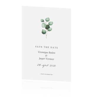 strakke save the date met eucalyptus takje