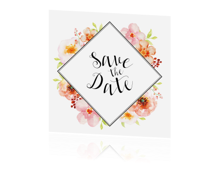 Save the date met aquarel bloemen