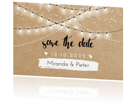 Festival save the date met lampjesslinger