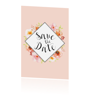Aquarel waterverf bloemen save the date