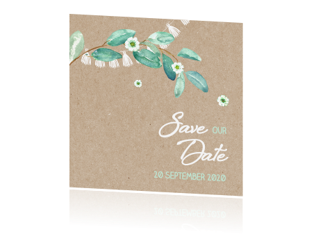Trendy Save the date met slingers en takje
