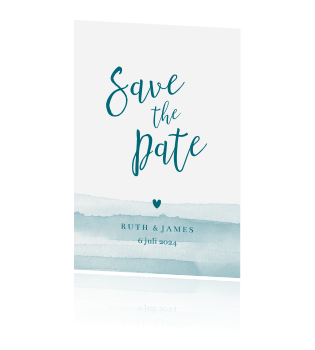 Save the date watercolor strepen hartje