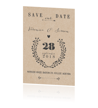 Stoere save the date met stijlvolle lettertypes