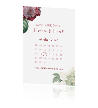 Vintage bloemen save the date met kalender