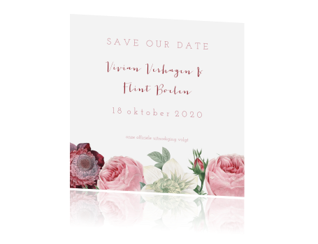 Vintage save the date met bloemenrand